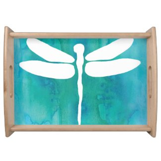 Dragonfly Watercolor White Aqua Blue Dragonflies Food Tray