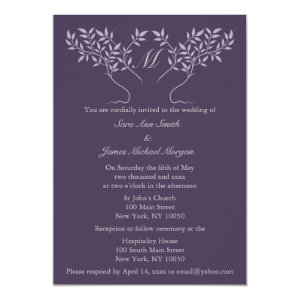 Eggplant Tree of Life Wedding Card