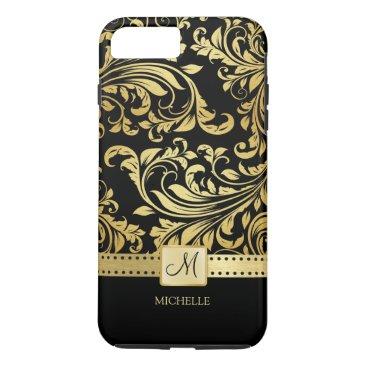 Elegant Black and Gold Damask with Monogram iPhone 7 Plus Case