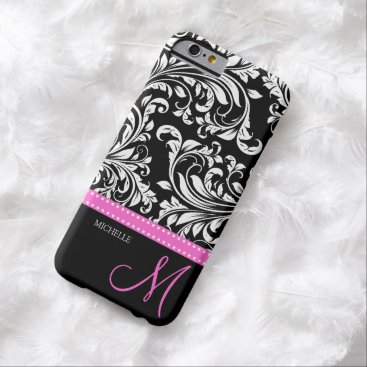 Elegant black and white Damask with Pink monogram Barely There iPhone 6 Case