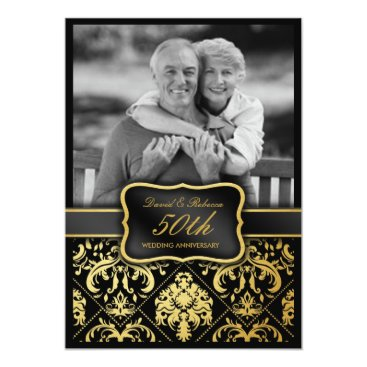 Elegant Gold Damask 50th Wedding Anniversary Card