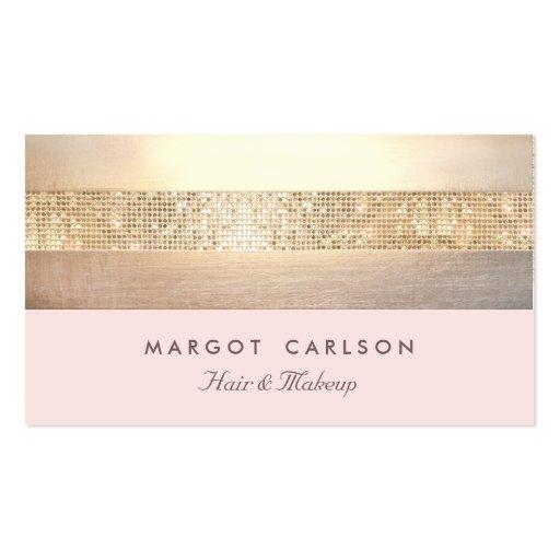 Elegant Gold Sequins Light Pink Striped *NO SHINE Business Card