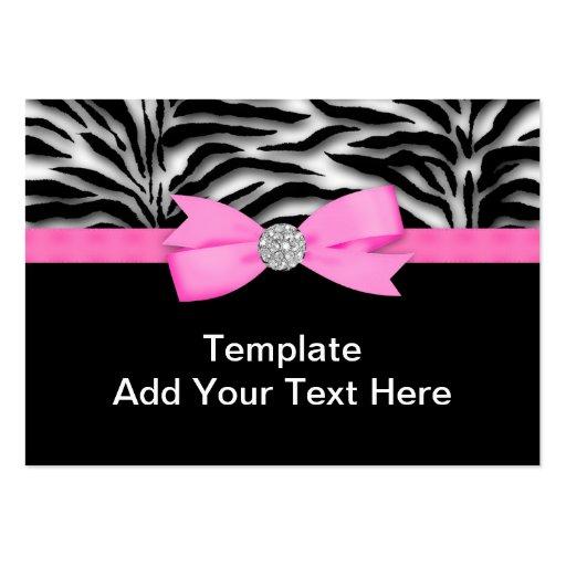 Elegant Hot Pink Zebra Business Cards