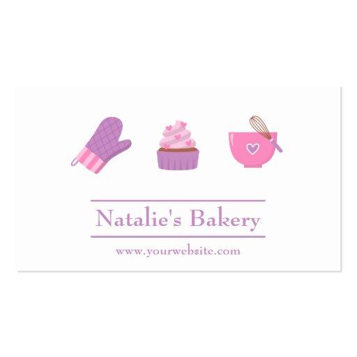 Elegant Modern Cupcake Bakery Cafe Pink Purple Business Card