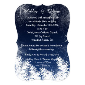 Elegant Navy Blue Branch Snowflake Winter Wedding 5x7 Paper Invitation Card