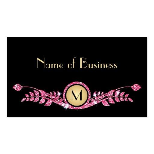 Elegant Pink and Black Faux Glitz Floral Monogram Business Card
