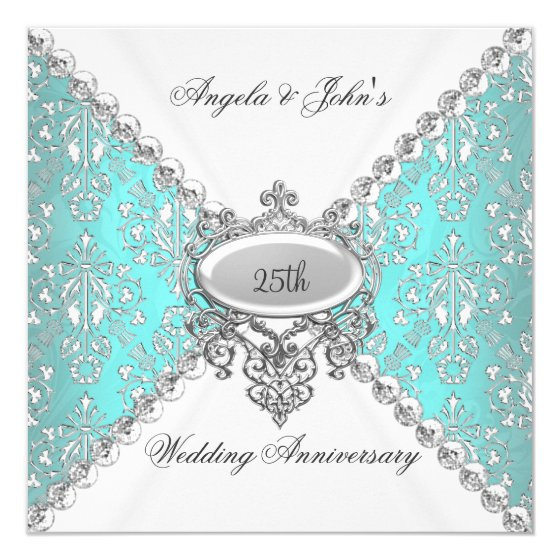 Elegant Teal Blue White 25th Wedding Anniversary Card