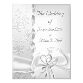 Elegant Wedding Floral Silver White Bow Hearts 4.25x5.5 Paper Invitation Card