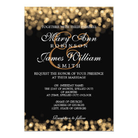 Elegant Wedding Gold Lights 5x7 Paper Invitation Card