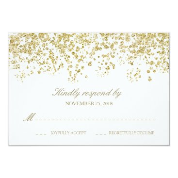 Elegant White and Gold Confetti Polka-Dots RSVP Card