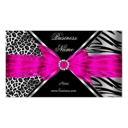 Elegant Zebra Leopard Black Hot pink 2 Business Card