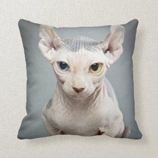 Elf Sphinx Cat Photograph Throw Pillow
