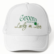 Emerald Green, White Shamrock Lucky in Love Bride Hat