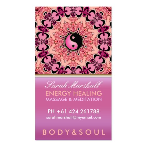 Energy Healing Holistic Peach Pink Business Card