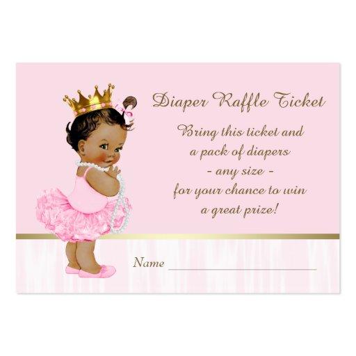 Ethnic Ballerina Princess Diaper Raffle Ticket Large Business Card