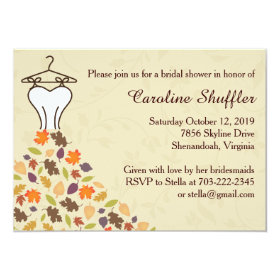 Fall Autumn Leaves Wedding Dress Bridal Shower 4.5x6.25 Paper Invitation Card