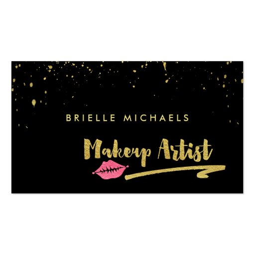 Faux Gold With Pink Lips Makeup Artist Appointment Business Card