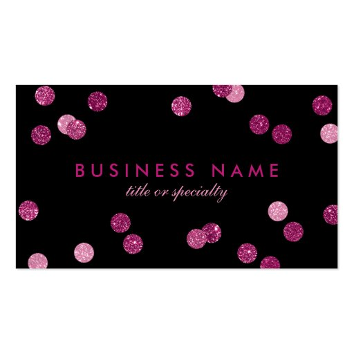 Faux Pink Glitter Confetti Black Business Card