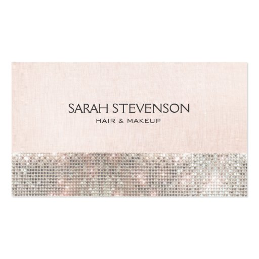 Faux Sequins and Linen Cute Pink Fashion & Beauty Business Card