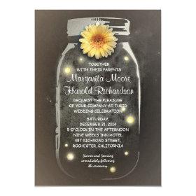 Fireflies & Rustic Mason Jar Whimsical Wedding 5x7 Paper Invitation Card