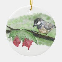 First frost for Chick-a-Dee Double-Sided Ceramic Round Christmas Ornament