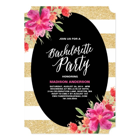 Floral Glam | Bachelorette Party Invitation
