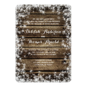 Frost Bite Barn Wood Winter Wedding Invitation