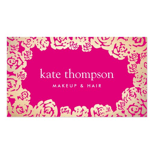 Fun Girly Gold Roses Hot Pink Beauty & Fashion Business Card