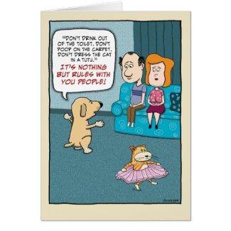 Funny birthday card: Dog Rules