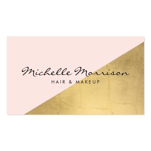 Geometric Faux Gold Foil and Pink Color Block Business Card