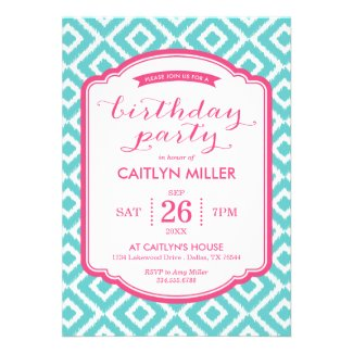 Teen birthday invitations birthday party ideas themes girly ikat diamonds birthday party invitation filmwisefo Image collections