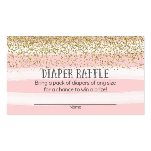 Gold and Pink Baby Shower Diaper Raffle Tickets Business Card