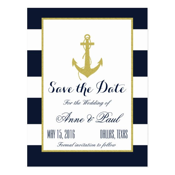 Gold Nautical Save the Date Postcard
