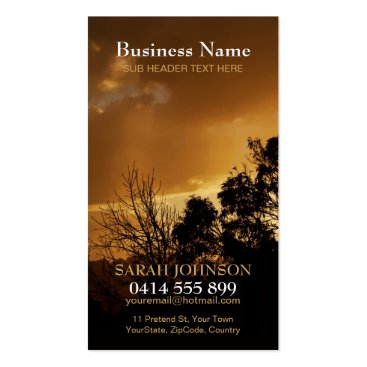 Golden Sky Clouds Nature Silhouette Business Card
