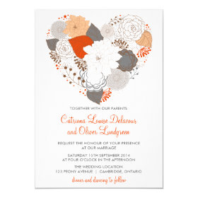 Gray and Orange Heart Flowers Wedding Invitation
