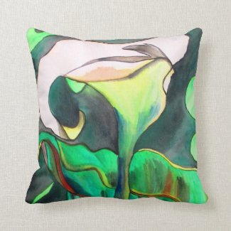 Green and white Arum lily floral Throw Pillows
