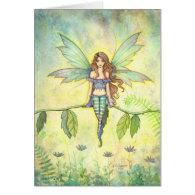 Green Garden Fairy Fantasy Art Card