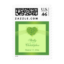 Green shamrock clovers heart wedding stamps