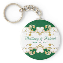Green White Gold Scrolls Wedding Favor Keychain