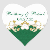Green, White, Gold Scrolls Wedding Favor Sticker