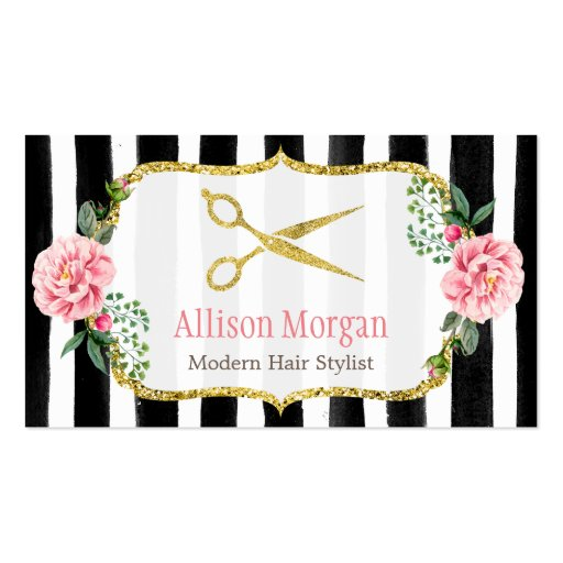 Hair Stylist Floral Gold Scissors Appointment Card Business Card