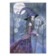 Halloween Card Purple Witch
