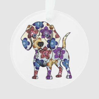 I Love My Beagle Circle Ornament
