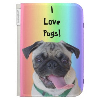 I Love Pugs Rainbow Kindle Caseable Case