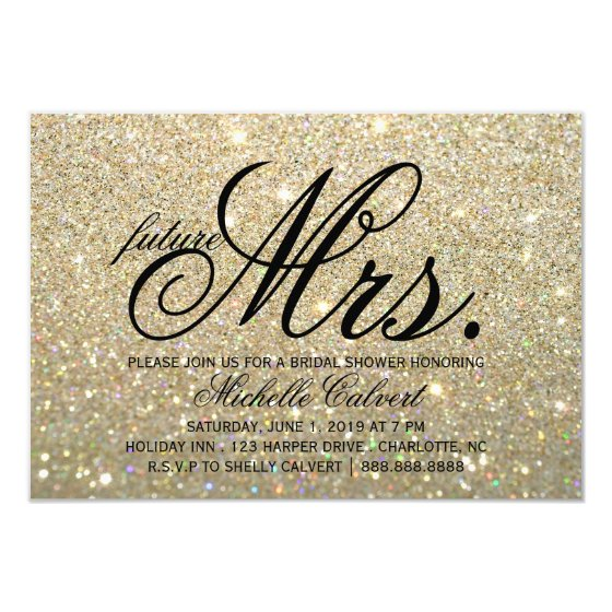 Invite - Gold Glit Fab future Mrs. Bridal Shower