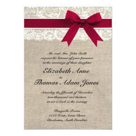 Ivory Lace Red Ribbon Burlap Wedding Invitation