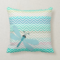 Kids Dragonfly Colorful Chevron Pillow Pillow