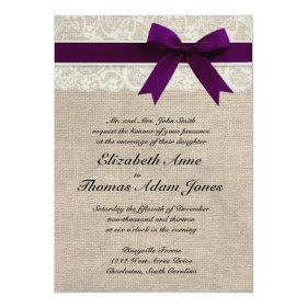 Lace and Burlap Rustic Wedding Invitation- Plum 5x7 Paper Invitation Card