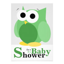 Large Funny Green Owl Baby Shower Invitations