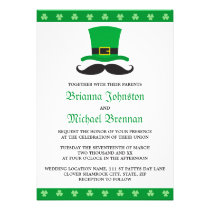 Leprechaun hat mustache St Patrick's day wedding Invitations